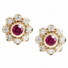 Vintage 0.88 CTW Diamond & Synthetic Ruby Flower Stud Earrings