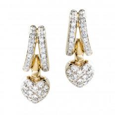 Vintage 1.50 CTW Diamond Heart Drop Earrings
