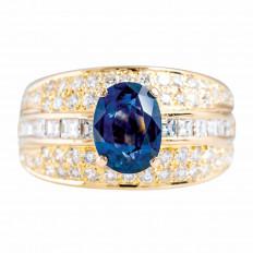 Vintage 2.23 CTW Blue Sapphire & Diamond Ring