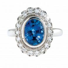Vintage 2.54 CTW Blue Sapphire & Diamond Halo Ring