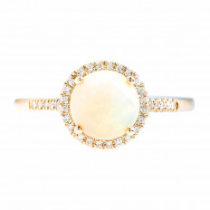 New Madison L 1.01 CTW Opal & Diamond Halo Ring