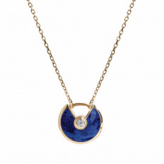 Vintage Cartier 0.02 CT Diamond & Lapis Amulette Necklace