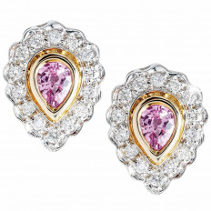 Vintage 0.48 CTW Pink Sapphire & Diamond Halo Stud Earrings