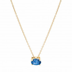 New 1.19 CT Blue Sapphire Necklace