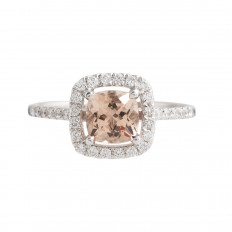 New 1.26 CTW Morganite & Diamond Halo Ring