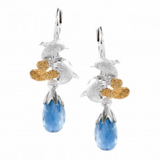New Denny Wony 3.33 CTW Briolette Kyanite & Diamond Dancing Couple Dolphin Earrings