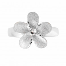New Denny Wong 0.12 CTW White Sapphire Plumeria Ring