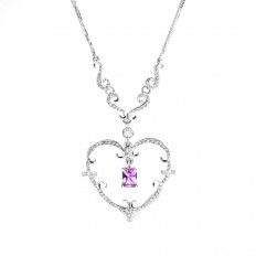 Vintage 1.97 CTW Pink Sapphire & Diamond Heart Necklace