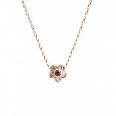 Vintage 0.23 CTW Ruby & Diamond Flower Pendant