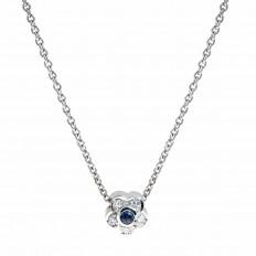 Vintage 0.23 CTW Blue Sapphire & Diamond Flower Necklace
