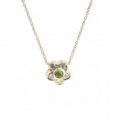 Vintage 0.23 CTW Peridot & Diamond Flower Necklace