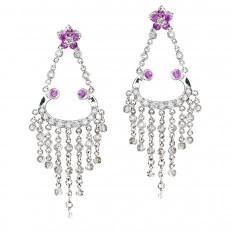 Vintage 1.87 CTW Pink Sapphire & Diamond Flower Chandelier Earrings
