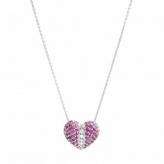 Vintage 1.85 CTW Pink Sapphire & Diamond Heart Necklace
