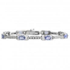 Vintage 2.10 CTW Diamond & Tanzanite Tennis Bracelet