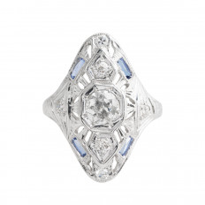 Antique 0.90 CTW Diamond & Blue Sapphire Ring