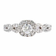 New 0.82 CTW Diamond Halo Engagement Ring