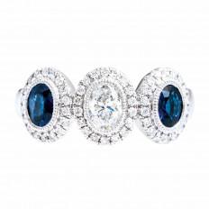 New 1.41 CTW Diamond & Blue Sapphire Ring