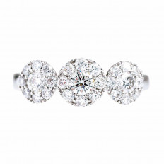 New 0.89 CTW Diamond Halo Ring