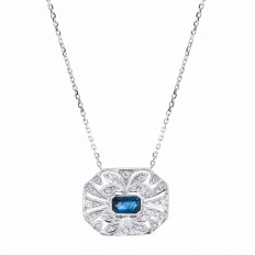 New 0.77 CTW Blue Sapphire & Diamond Necklace