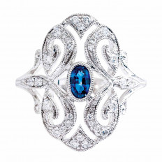 New 0.60 CTW Blue Sapphire & Diamond Ring