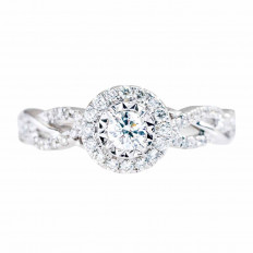 Vintage 0.50 CTW Diamond Halo Engagement Ring