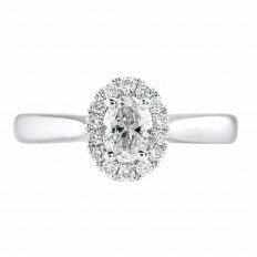 New 0.71 CTW Diamond Halo Engagement Ring