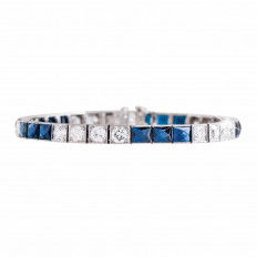 Antique 7.10 CTW Diamond & Blue Sapphire Tennis Bracelet
