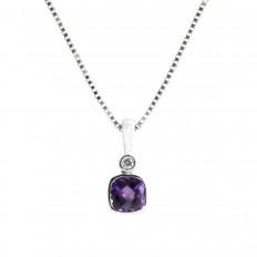 New 0.51 CTW Amethyst & Diamond Pendant