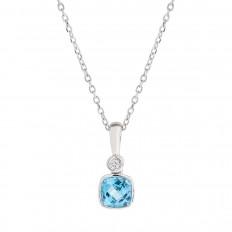 New 0.67 CTW Blue Topaz & Diamond Pendant