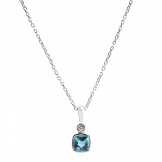 New 0.67 CTW Blue Topaz & Diamond Pendant