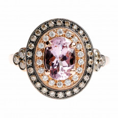 Vintage Beverley K 1.47 CTW Morganite & Diamond Double Halo Ring