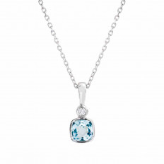 New 0.57 CTW Aquamarine & Diamond Necklace