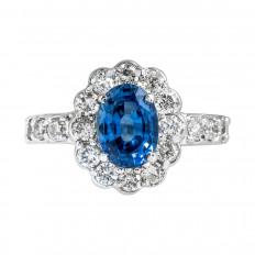 Vintage 2.29 CTW Blue Sapphire & Diamond Halo Ring