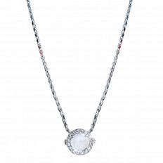 Vintage 1.70 CTW Moonstone & Diamond Halo Necklace