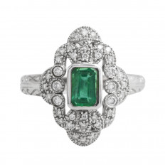Vintage 0.90 CTW Emerald & Diamond Ring