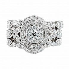 Vintage 0.80 CTW Diamond Cluster Wedding Set