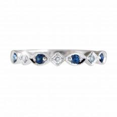Vintage 0.25 CTW Blue Sapphire & Diamond Band