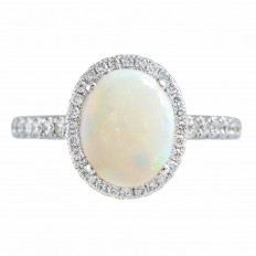 Vintage 2.32 CTW Opal & Diamond Halo Ring