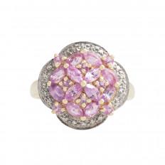 Vintage 1.22 CTW Pink Sapphire & Diamond Cluster Ring
