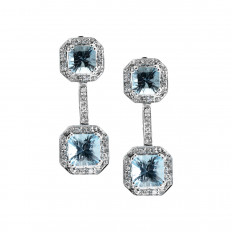 Vintage 6.65 CTW Diamond & Blue Topaz Drop Earrings