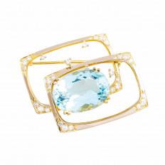 Vintage H. Stern 9.10 CTW Aquamarine & Diamond Brooch