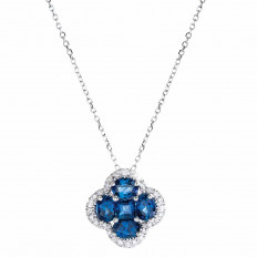 New Venetti 2.13 CTW Blue Sapphire & Diamond Halo Clover Necklace