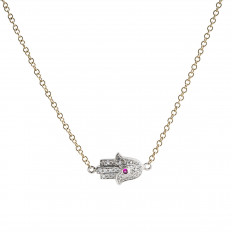 New Venetti 0.09 CTW Ruby & Diamond Hamsa Necklace
