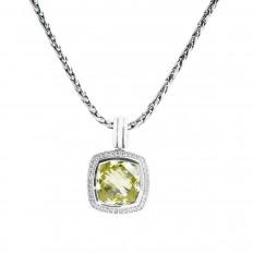 Vintage David Yurman 0.14 CTW Lemon Citrine & Diamond Pendant
