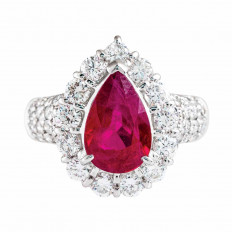 New 4.54 CTW Burma Ruby & Diamond Halo Ring