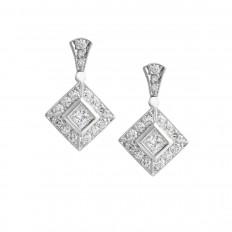 Vintage 0.76 CTW Diamond Dangle Earrings