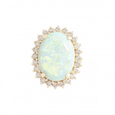 Vintage 8.32 CTW Opal & Diamond Halo Ring