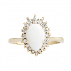 Vintage 0.98 CTW Opal & Diamond Halo Ring