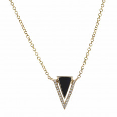 New Madison L 0.20 CTW Black Onyx & Diamond Triangle Necklace