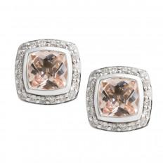 Vintage David Yurman 0.21 CTW Diamond & Morganite Petite Albion Stud Earrings